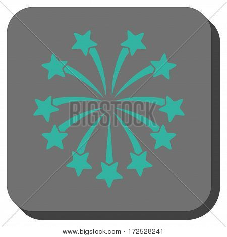 Spherical Fireworks interface toolbar button. Vector pictograph style is a flat symbol in a rounded square button, cyan and gray colors.