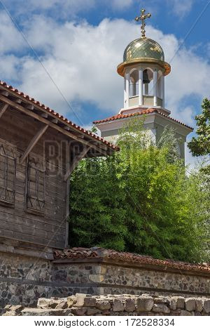Panorama of Ancient Sozopol ruins and the church of St. George, Bulgaria