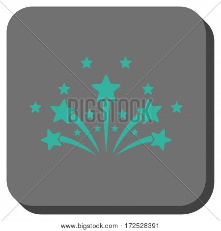 Star Fireworks interface button. Vector pictogram style is a flat symbol in a rounded square button, cyan and gray colors.