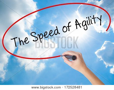 Woman Hand Writing The Speed Of Agility With Black Marker On Visual Screen