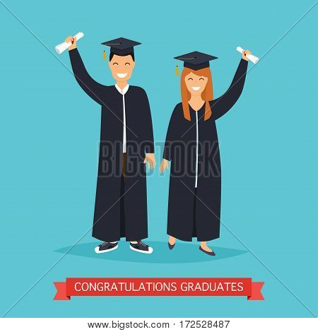 Boy and girl graduates.Vector illustration in flat design.