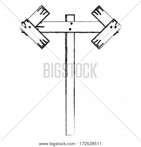 monochrome contour of wooden pointer direction path vector illustration