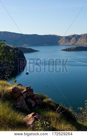 Lake Argyle is located in the far north of Western Australia in the remote Kimberley region. Lake Argyle is a vast freshwater lake nestled amongst a rugged billion year old landscape. poster