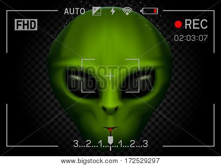 Camera viewfinder rec green alien face with black eyes on transparent dark background. Record video with stranger. Invader head. UFO theme