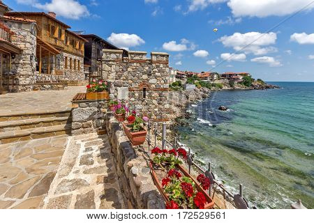 Amazing panorama with Ancient fortifications in old town of Sozopol, Burgas Region, Bulgaria