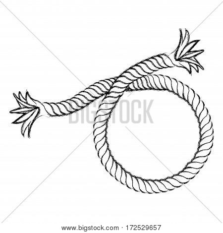 monochrome contour hand drawing of nautical break rope vector illustration
