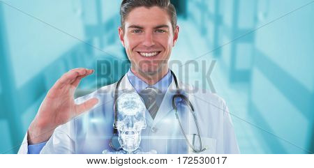 Portrait of doctor gesturing against skull and brain graphic on black 3d
