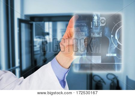 Cropped image of male doctor touching screen against view of hospital corridor 3d