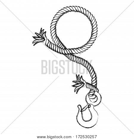 monochrome contour hand drawing of nautical break rope with metal hook vector illustration