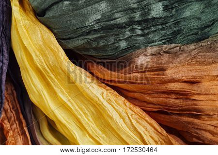 colored green crinkled crumpled silk fabric textured