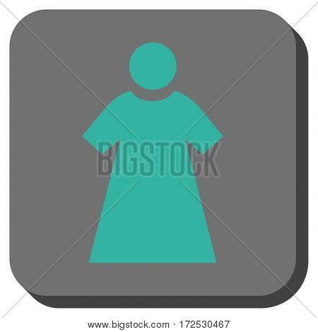 Woman square icon. Vector pictogram style is a flat symbol centered in a rounded square button, cyan and gray colors.
