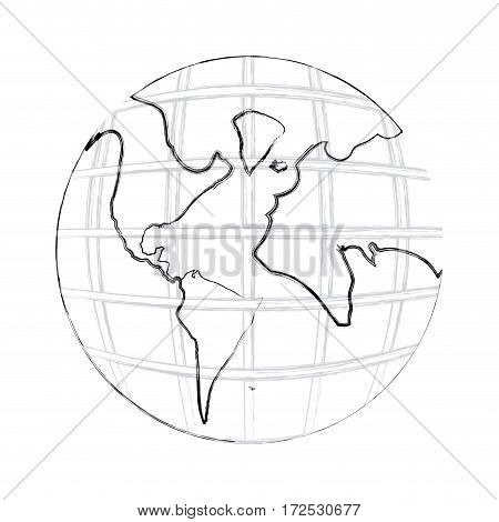 monochrome contour hand drawing of earth world map with continents vector illustration