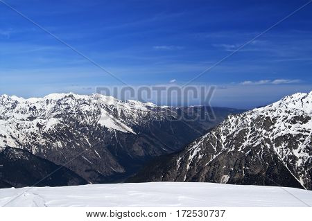 Mountain In Snow At Sun Spring Day