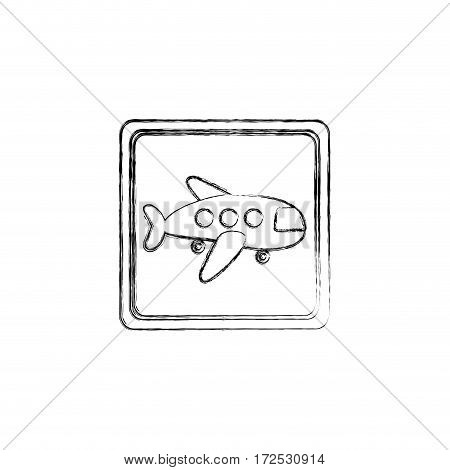 monochrome contour hand drawing of square button cartoon jet airplane transport icon design vector illustration