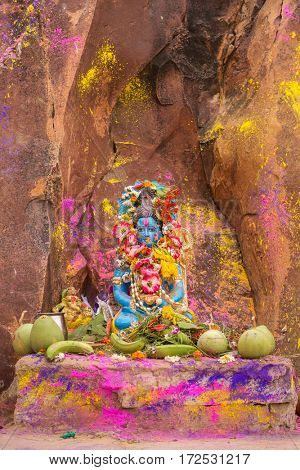 Krishna statue with flowers and offerings during Holi celebration in India