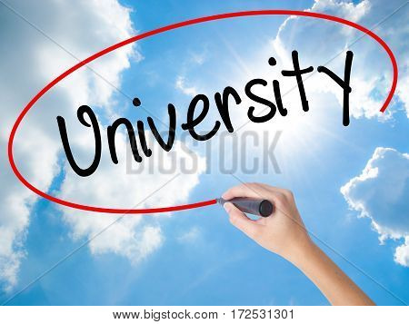 Woman Hand Writing University With Black Marker On Visual Screen