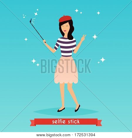 Hipster girl taking a selfie with mobile phone. Concept of new trends and technology. Vector illustration.