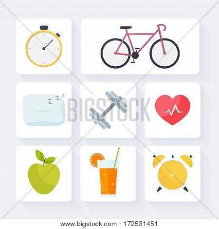 Icons for web: fitness healthy food and metrics. Flat style vector illustration.