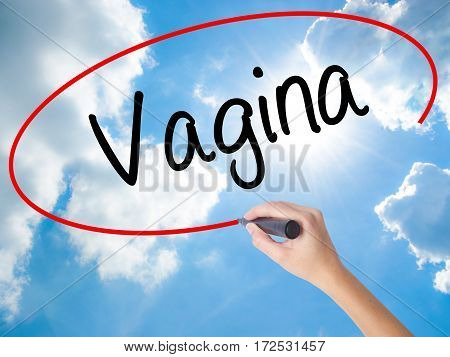 Woman Hand Writing Vagina With Black Marker On Visual Screen