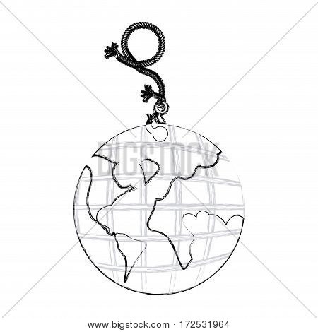 monochrome contour hand drawing of hanging rope with metal hook and earth world map vector illustration