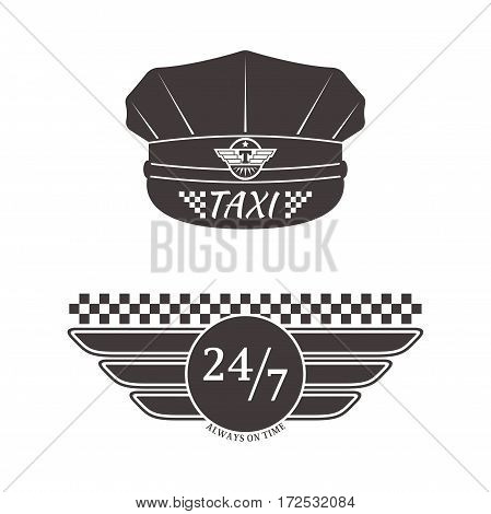 Vintage and modern taxi logos label badge and design elements. Car service business sign template, icon corporate identity design and vector object.