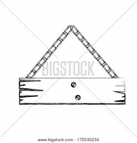 monochrome contour of piece wooden sign board with chains vector illustration