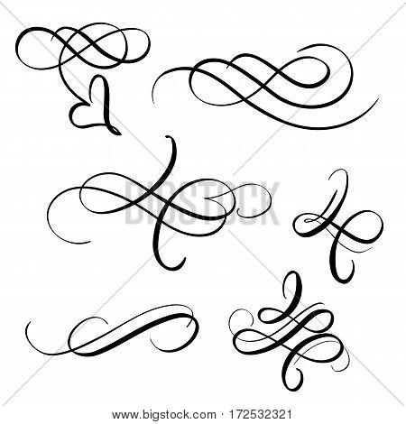 set of vintage decorative flourish for design. Vector illustration EPS10.