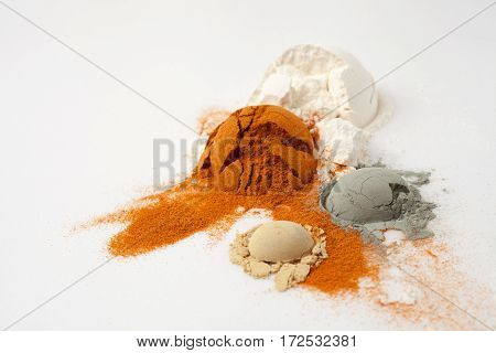 Hemisphere Of Powder Is Split And Cracked, Flour, Ground Pepper, Mustard, Green Clay In Recipes Cosm
