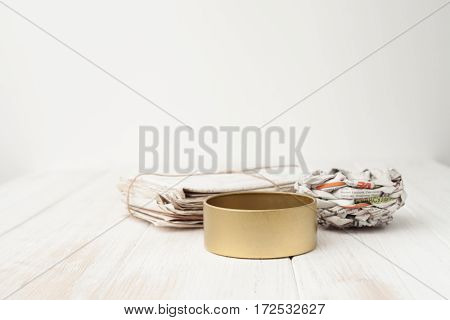 A Bunch Of Old Letters, Old Newspapers, Iron Pot On White Wooden Background