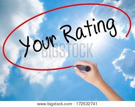 Woman Hand Writing Your Rating With Black Marker On Visual Screen.