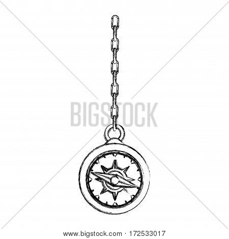 monochrome contour hand drawing of compass hanging from a link chain vector illustration