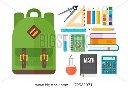 School icon flat set stationery equipment students isolated vector illustration. Mathematics learning teaching art. Science university graduation symbols.