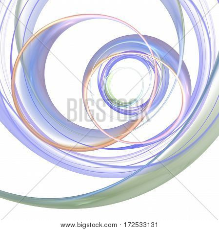 Abstract Beige, Grey And Blue Swirly Lines On White Background. Fantasy Fractal Design. Digital Art.