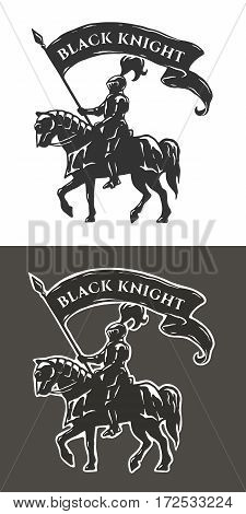 Equestrian knight in armor with a banner in his hands.