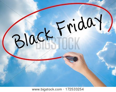Woman Hand Writing Black Friday With Black Marker On Visual Screen