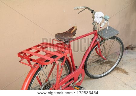 bicycle red classic vintage in former with copy space for add text