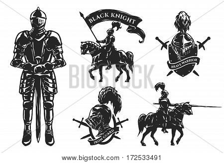 A set of medieval knights. Armor mounted knights emblems.