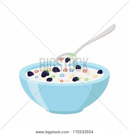 Cereal rings, blackberry, spoon and bowl. Oatmeal breakfast with milk, organic muesli. Flat vector style.