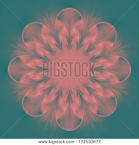 Abstract Exotic Flower. Psychedelic Mandala Design In Beige, Pink And Blue Colors. Fantasy Fractal A