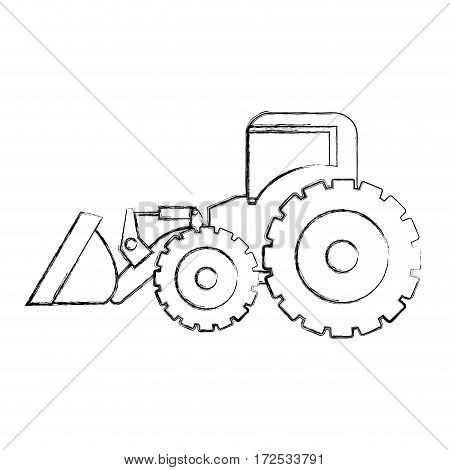 monochrome contour hand drawing of tractor loader building machine vector illustration
