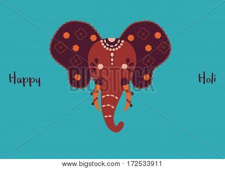 Head of indian ornamental sacred elephant on turquoise background