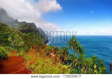 View Of The Famous Kalalau Trail Along Na Pali Coast Of The Island Of Kauai
