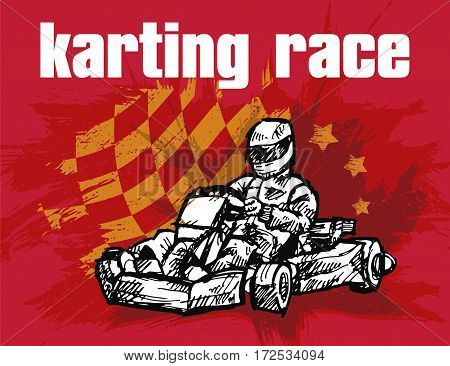 Vector with image of kart runner with checkered flag background