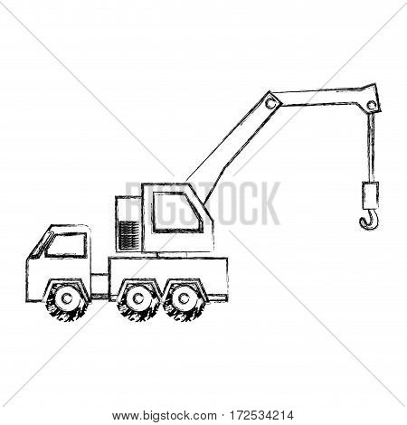 monochrome contour hand drawing of tow truck vehicle transport vector illustration