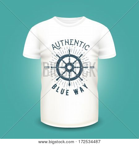 T-shirt mockup with steering wheel silhouette and sunburst. Vector illustration. Realistic mockup and nautical retro label used for advertising emblem on textile goods, banner or poster design.