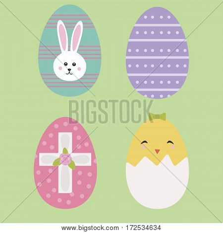 Cute Easter eggs icons in flat style design isolated icons. Vector illustration. EPS 10.  Bunny, chick, cross, flower