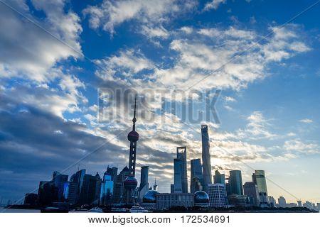 landmarks of Shanghai with Huangpu river in China.