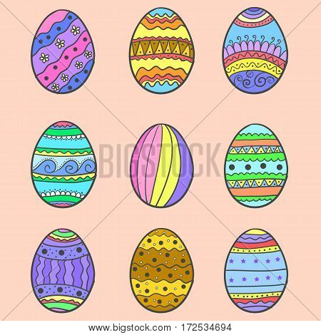 Doodle of easter egg set illustration vector collection