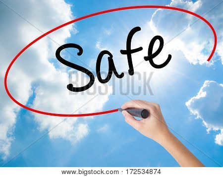 Woman Hand Writing Safe With Black Marker On Visual Screen