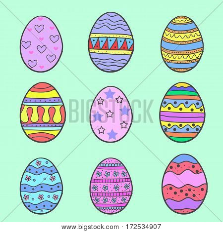 Doodle of easter egg style set on green background vector